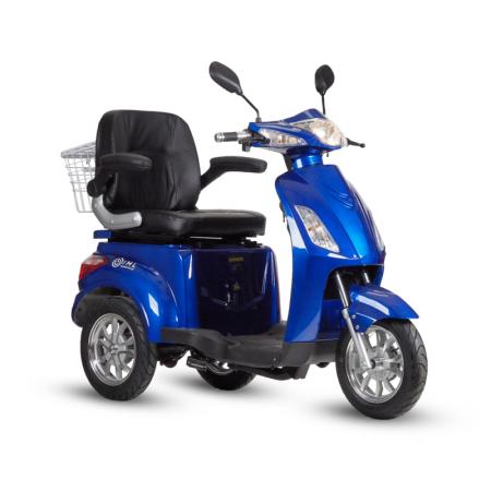 Pojazd elektryczny LIFE, trójkołowy 800W Niebieski dla osób starszych, niepełnosprawnych